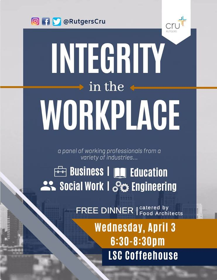 Integrity In the Workplace Event This Week!